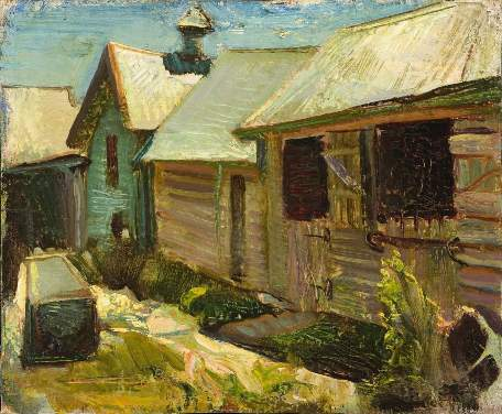 murray_griffin-260250_the_stables_oil_on_pulpboard_australian_painting_modern