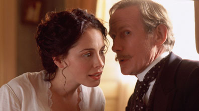 "Picture Shows: LAURA FRASER as Emily Trevelyan and BILL NIGHY as Colonel Osborne TX: TBA  Following the award-winning success of his adaption of Anthony Trollope's The Way We Live Now, Andrew Davies brings a surprisingly new perspective in his reworking of Trollope's searing novel, He Knew He Was Right. ""This is an unusual Trollope"" says Davies. ""A dark and edgy portrait of a marriage in trouble which feels startingly modern - it's Trollope's take on the Othello story"".  A tale of a man who allows his jealousy to become a tragic obsession. The timeless issues of jealousy and marital breakdown provides the backdrop for this compelling story, pitching the demanding and traditional Louis (OLIVER DIMSDALE) against his strong-willed wife Emily (LAURA FRASER),  a thoroughly modern heroine.  Warning: Use of this copyright image is subject to Terms of Use of BBC Digital Picture Service.  In particular, this image may only be used during the publicity period for the purpose of publicising HE KNEW HE WAS RIGHT and provided BBC is credited. Any use of this image on the internet or for any other purpose whatsoever, including advertising or other commercial uses, requires the prior written approval of the BBC."