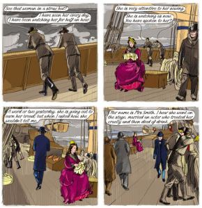 Pages from a graphic novel 'Dispossession' by Simon Grennan. Based on John Caldigate by Anthony Trollope
