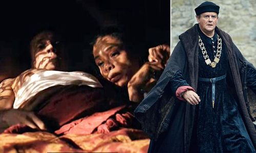 **VIDEO GRABS FROM BBC PREVIEW SITE FOR MOS PICTURE DESK** THE HOLLOW CROWN, BBC SHAKESPEARE ADAPTATION. Hugh Bonneville, playing the Duke of Gloucester, gets murdered while a couple make love during the same segment of the programme. The lovers are Sophie Okonedo playing Margaret and actor Ben Miles