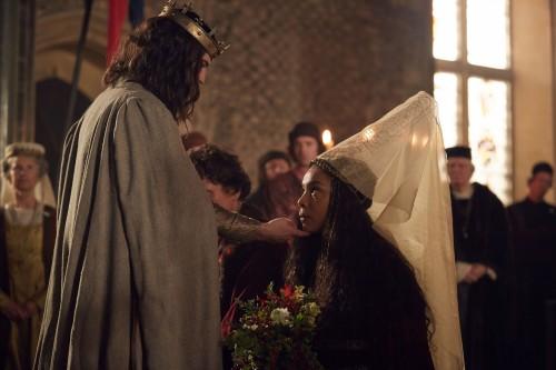 WARNING: Embargoed for publication until 00:00:01 on 01/05/2016 - Programme Name: The Hollow Crown: The Wars Of The Roses - TX: n/a - Episode: The Hollow Crown: The Wars Of The Roses (No. Henry VI Part 1) - Picture Shows: *STRICTLY NOT FOR PUBLICATION UNTIL 00:01HRS, SUNDAY 1ST MAY, 2016* Henry VI (TOM STURRIDGE), Margaret (SOPHIE OKONEDO) - (C) Carnival Film & Television Ltd - Photographer: Robert Viglasky